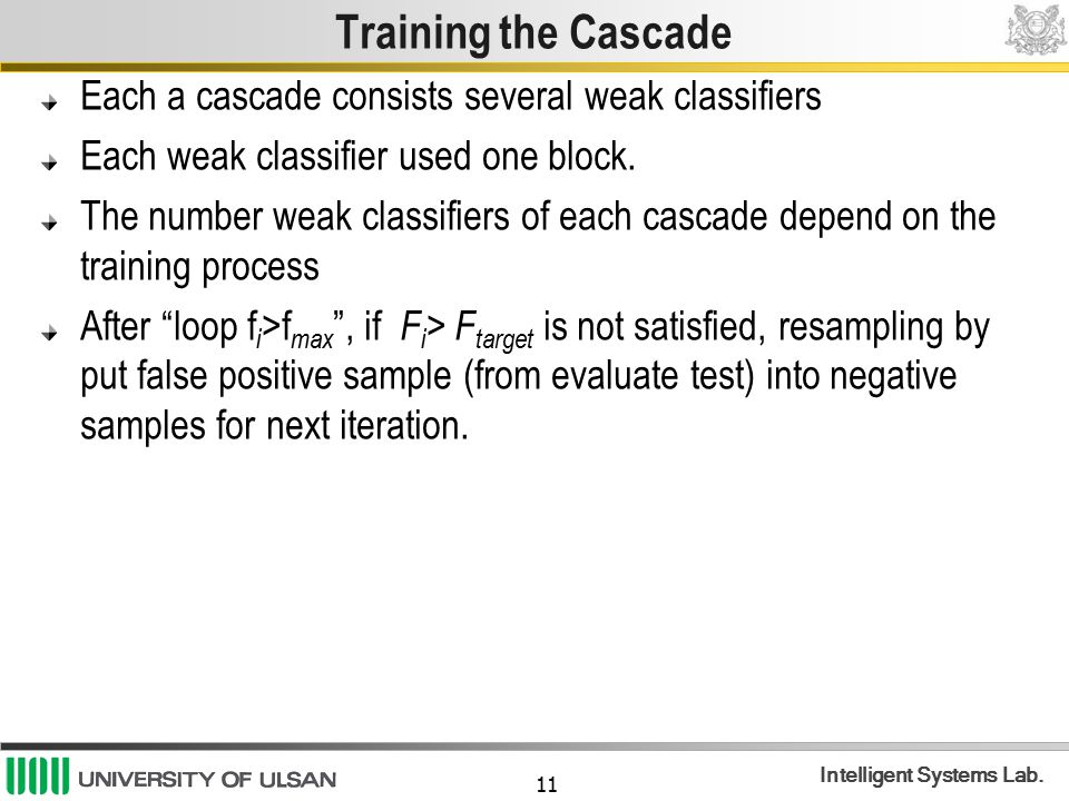 Training the Cascade Each a cascade consists several weak classifiers