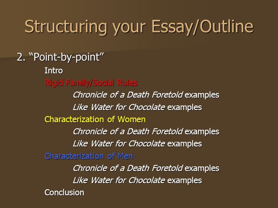 Exemplification Essay Thesis Structuring Your Essayoutline Essay In English For Students also Persuasive Essay Thesis Statement Examples Chronicle Of A Death Foretold By Gabriel Garcia Marquez  Ppt Video  A Modest Proposal Essay