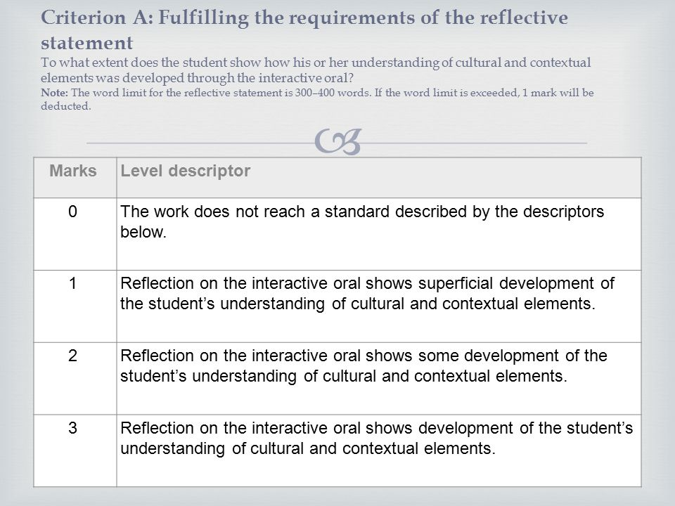 english reflective statement