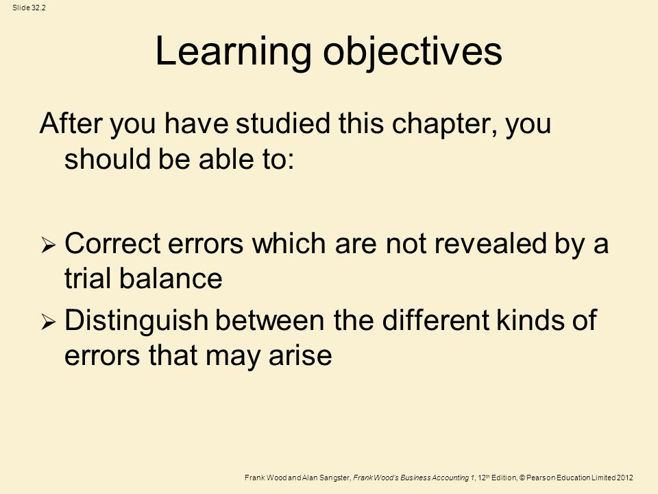 Learning objectives After you have studied this chapter, you should be able to: Correct errors which are not revealed by a trial balance.