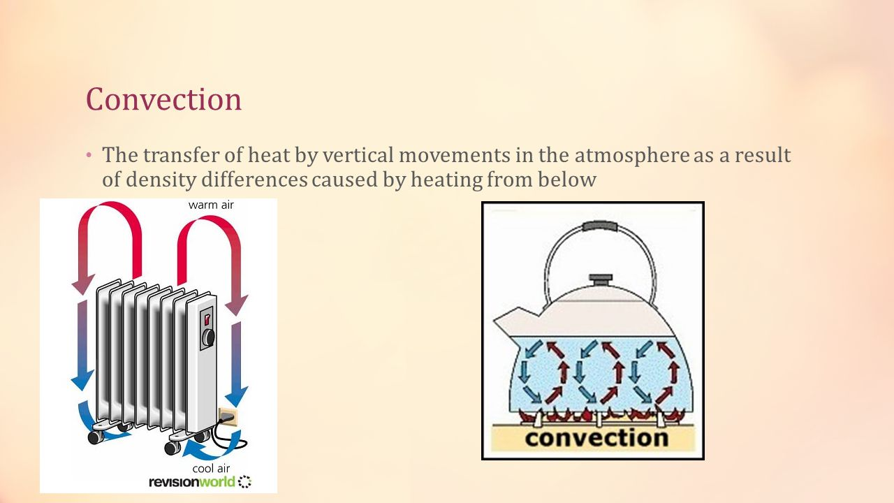 Convection The transfer of heat by vertical movements in the atmosphere as a result of density differences caused by heating from below.