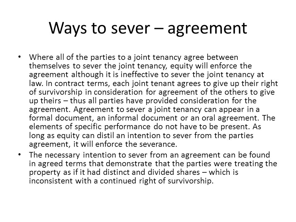 Severance And Ending Co Ownership Ppt Download