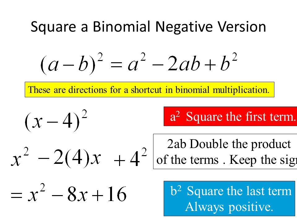 how to find the square of a binomial