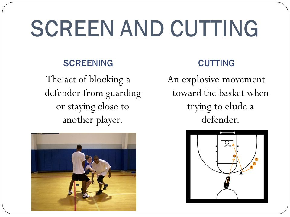 SCREEN AND CUTTING SCREENING. CUTTING. The act of blocking a defender from guarding or staying close to another player.