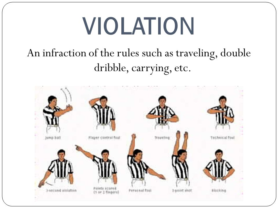 VIOLATION An infraction of the rules such as traveling, double dribble, carrying, etc.