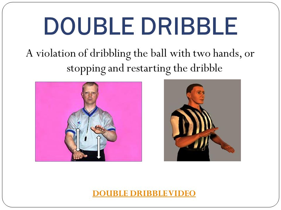 DOUBLE DRIBBLE A violation of dribbling the ball with two hands, or stopping and restarting the dribble.