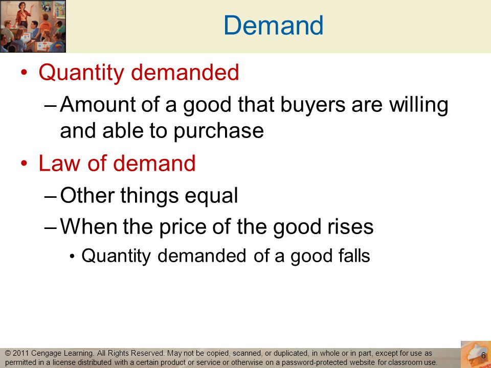 Demand Quantity demanded Law of demand