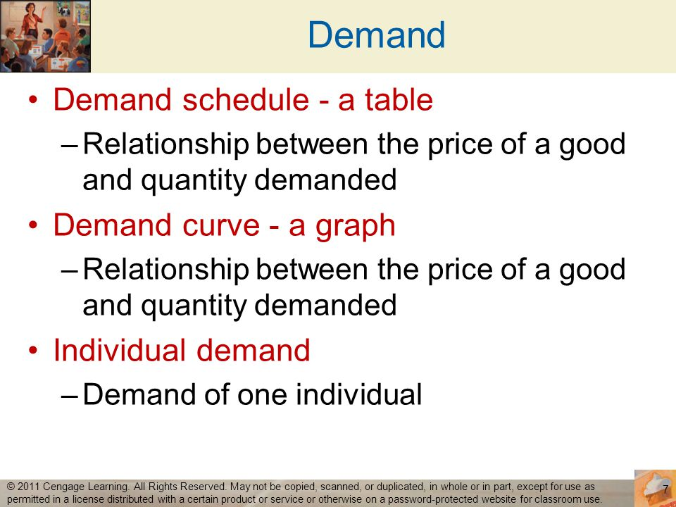 Demand Demand schedule - a table Demand curve - a graph