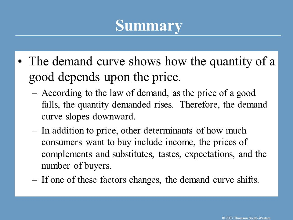 The supply curve shows how the quantity of a good supplied depends upon the price.