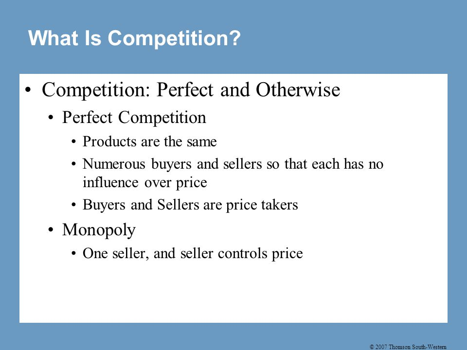 Competition: Perfect and Otherwise