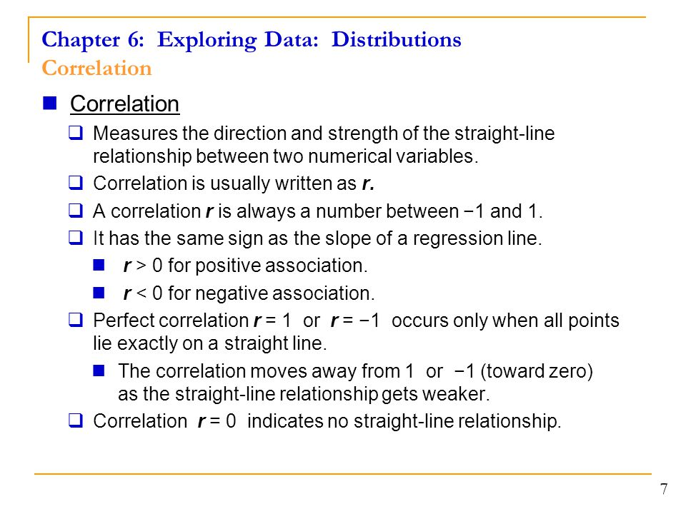 Chapter 6: Exploring Data: Distributions Correlation