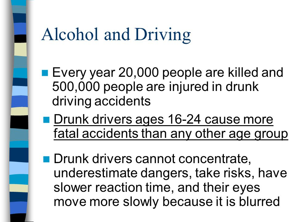 Alcohol and Driving Every year 20,000 people are killed and 500,000 people are injured in drunk driving accidents.