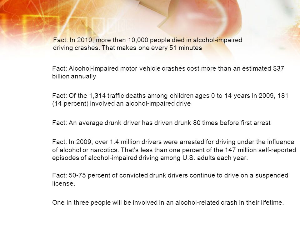 Fact: In 2010, more than 10,000 people died in alcohol-impaired driving crashes. That makes one every 51 minutes