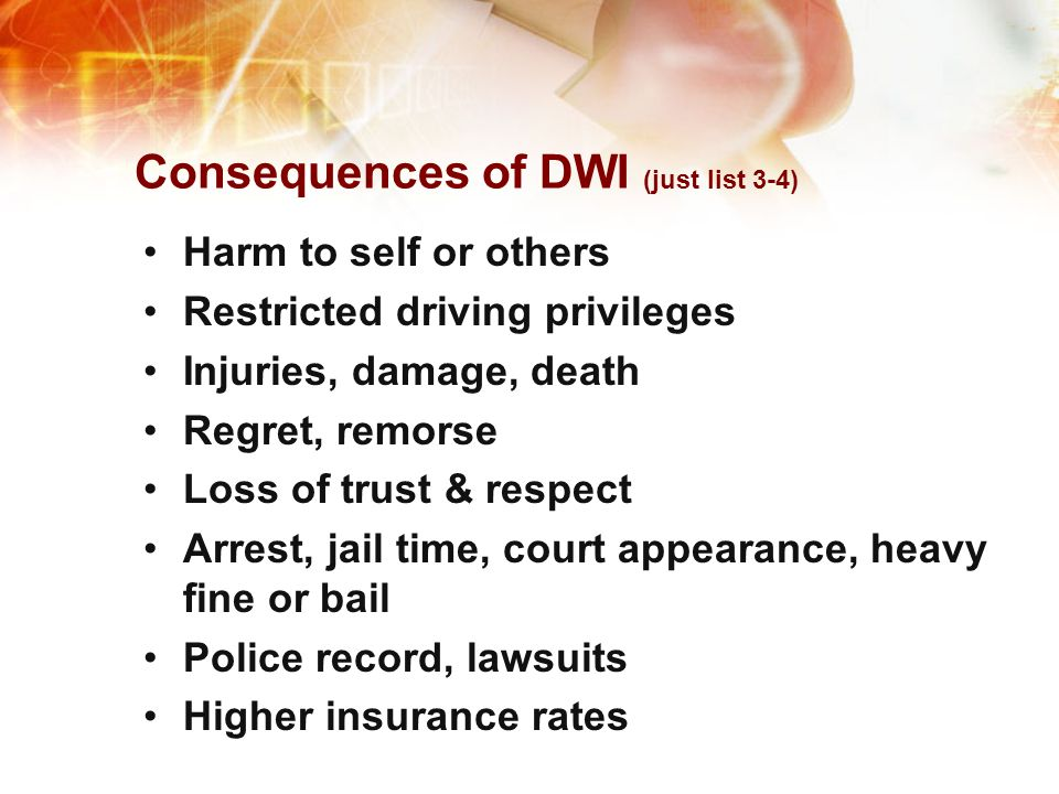 Consequences of DWI (just list 3-4)