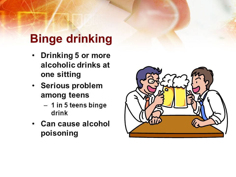 Binge drinking Drinking 5 or more alcoholic drinks at one sitting
