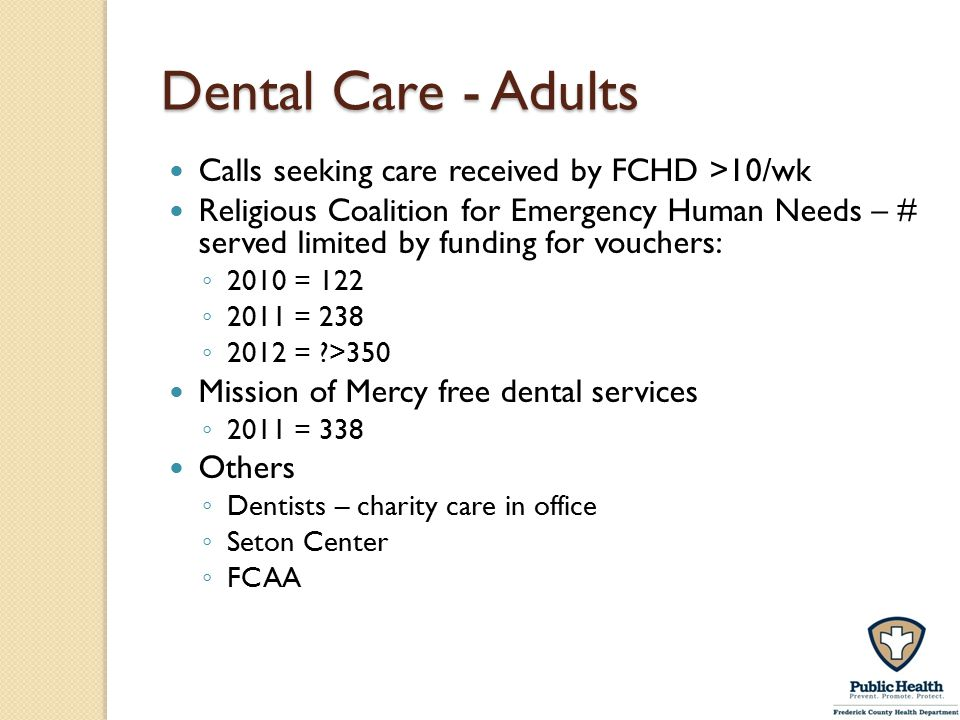 Dental Care - Adults Calls seeking care received by FCHD >10/wk