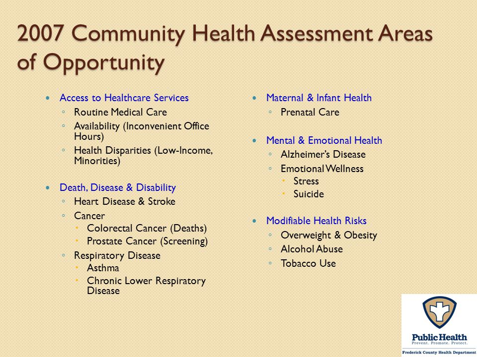 2007 Community Health Assessment Areas of Opportunity
