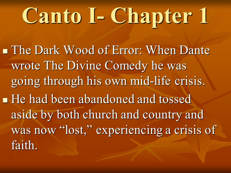 divine comedy chapters