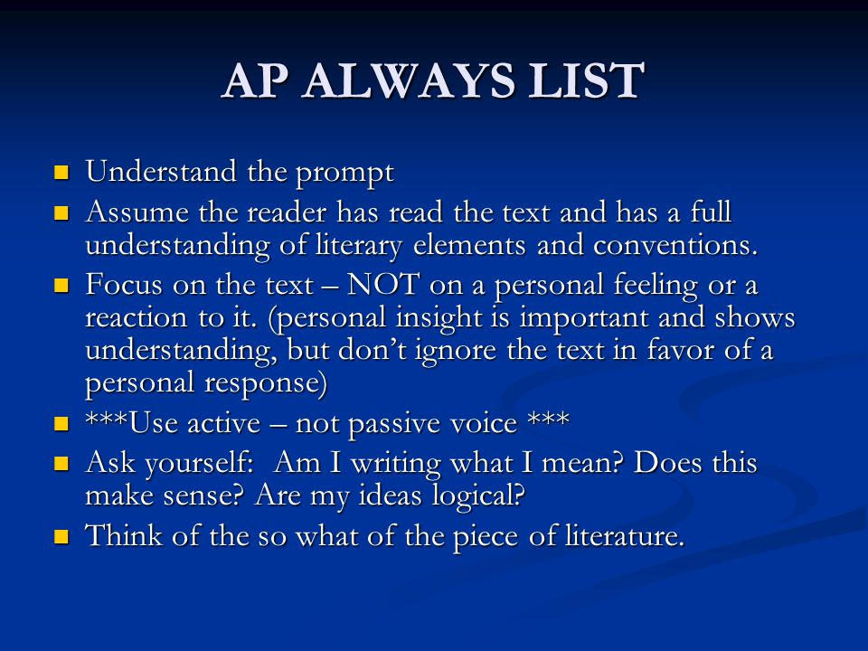 AP ALWAYS LIST Understand the prompt