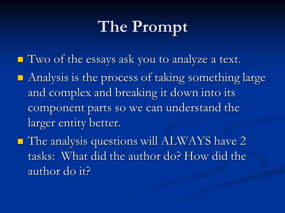 The Prompt Two of the essays ask you to analyze a text.