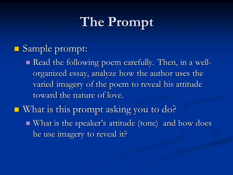 The Prompt Sample prompt: What is this prompt asking you to do