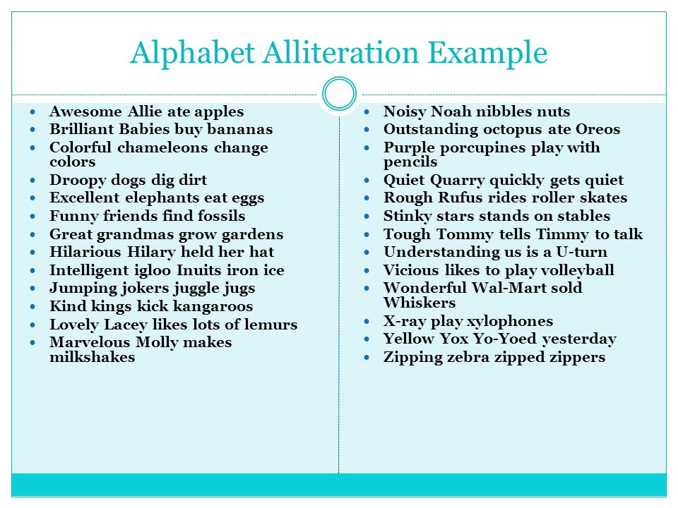 Alphabet Alliteration Poem Examples Image Collections Example