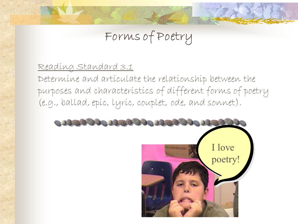 Forms of Poetry Reading Standard 3.1