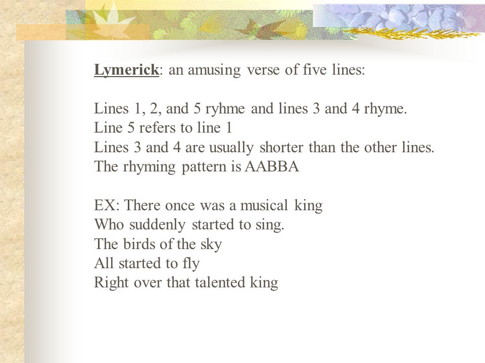 Lymerick: an amusing verse of five lines: