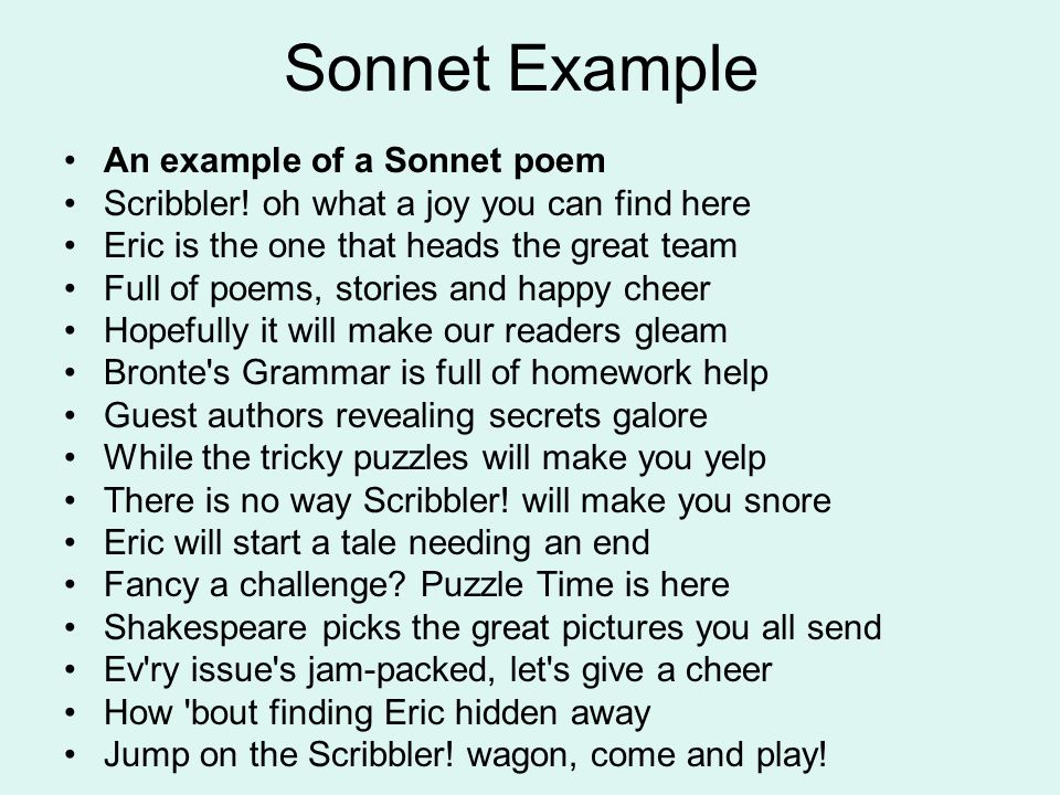 example of a sonnet in poetry
