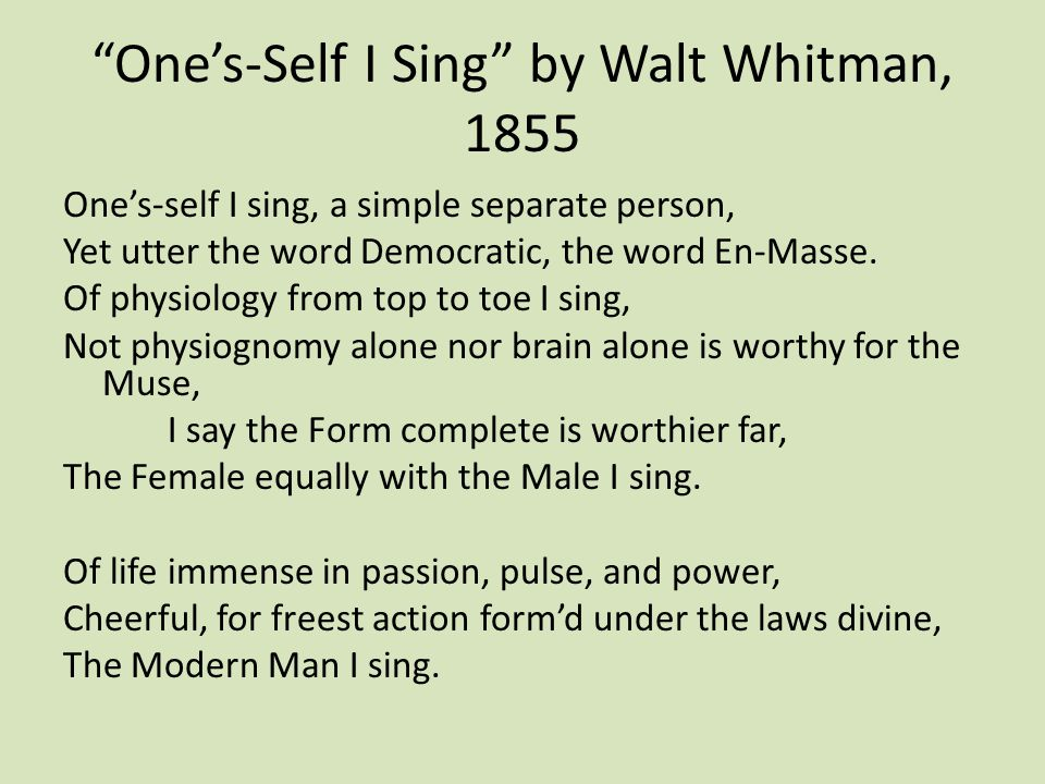 whitman ones self i sing