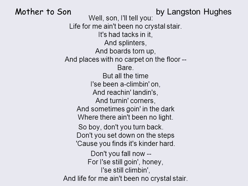 a mother to son langston hughes