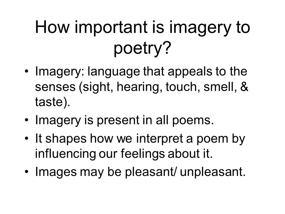 How important is imagery to poetry