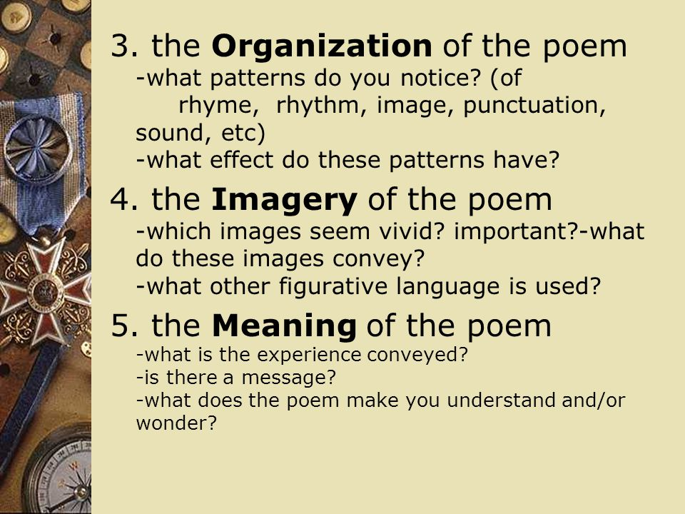 3. the Organization of the poem -what patterns do you notice. (of