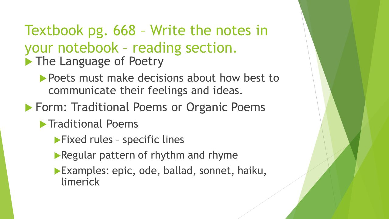 Textbook pg. 668 – Write the notes in your notebook – reading section.
