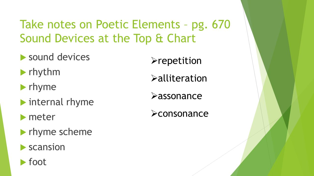 Take notes on Poetic Elements – pg