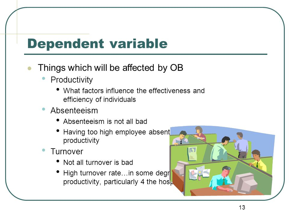 Dependent variable Things which will be affected by OB Productivity