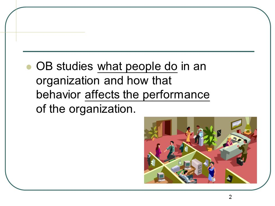 OB studies what people do in an organization and how that behavior affects the performance of the organization.