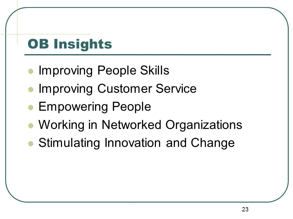 OB Insights Improving People Skills Improving Customer Service