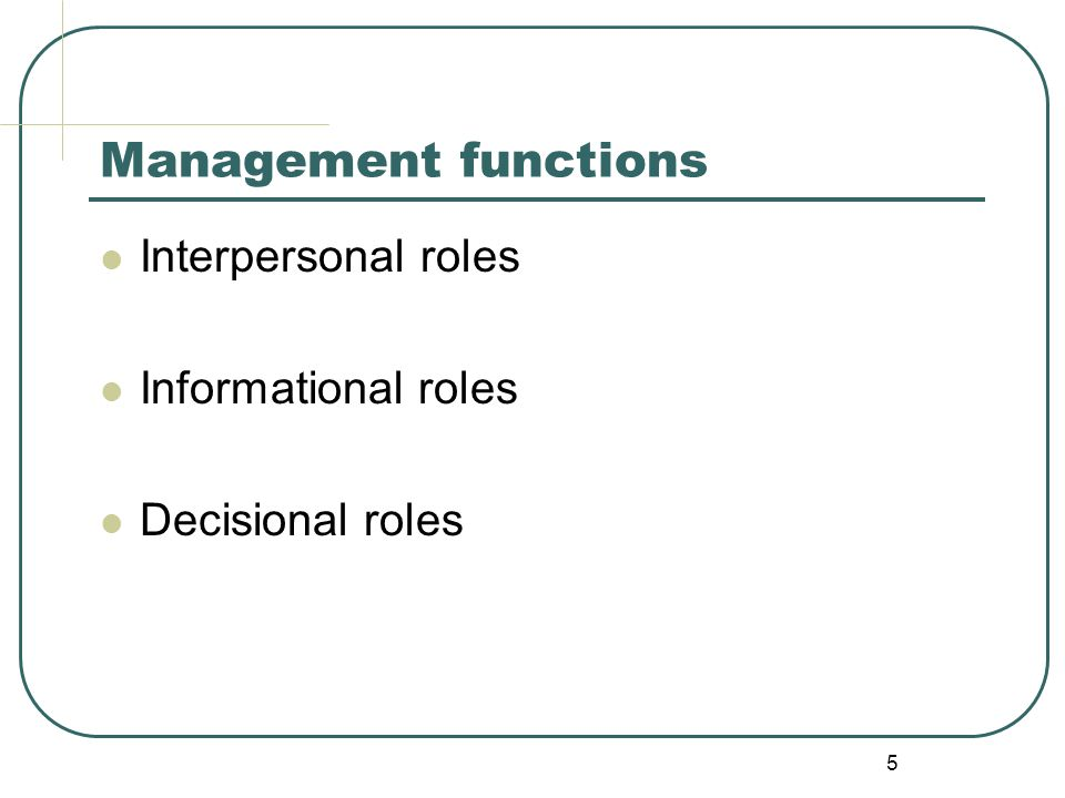 Management functions Interpersonal roles Informational roles