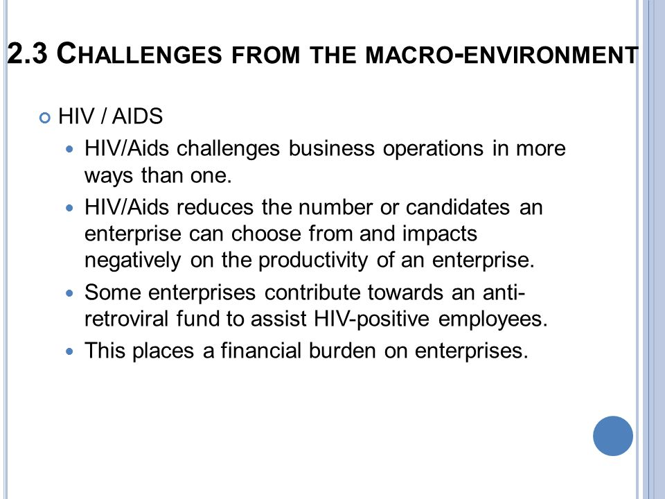challenges of the macro environment