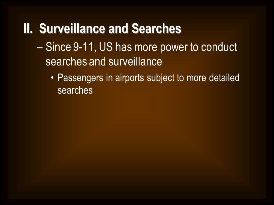 II. Surveillance and Searches