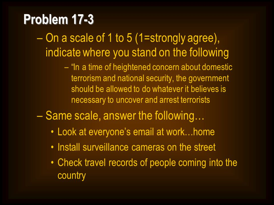 Problem 17-3 On a scale of 1 to 5 (1=strongly agree), indicate where you stand on the following.