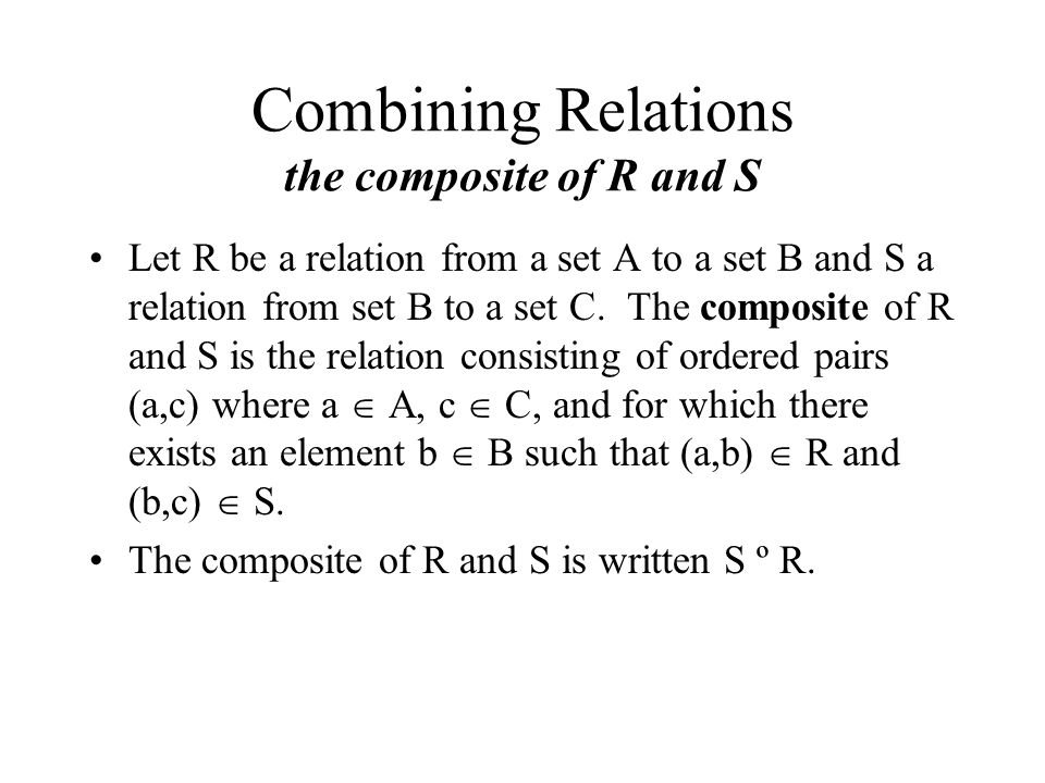 Combining Relations the composite of R and S
