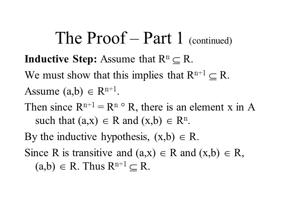 The Proof – Part 1 (continued)