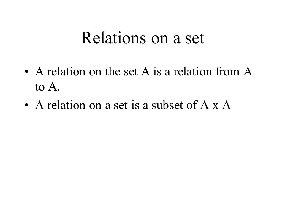 Relations on a set A relation on the set A is a relation from A to A.