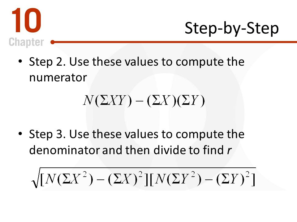 Step-by-Step Step 2. Use these values to compute the numerator