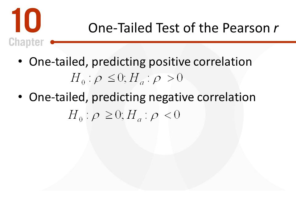 One-Tailed Test of the Pearson r
