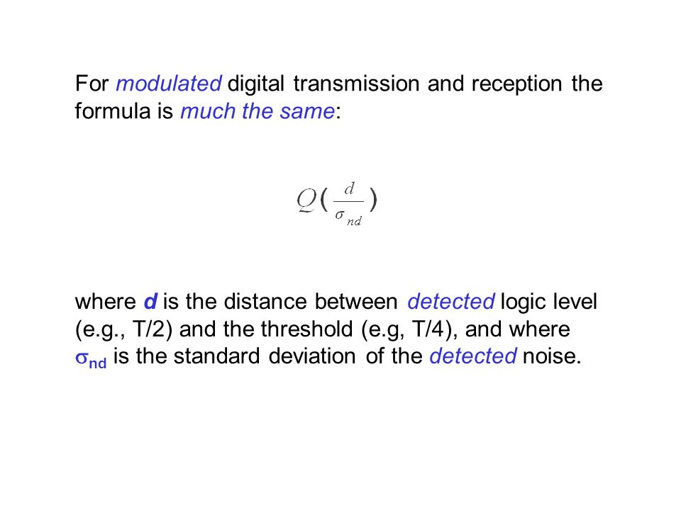 For modulated digital transmission and reception the formula is much the same: