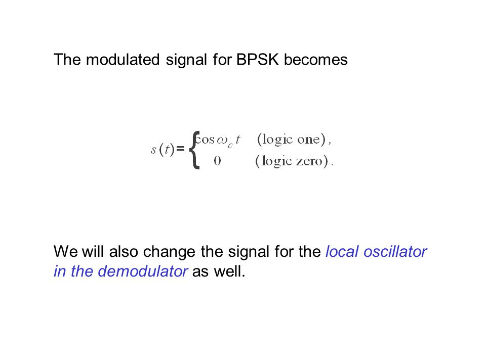 The modulated signal for BPSK becomes