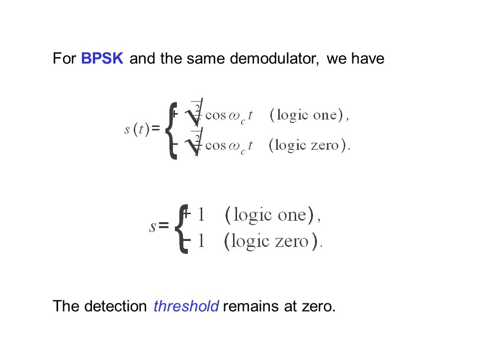 For BPSK and the same demodulator, we have